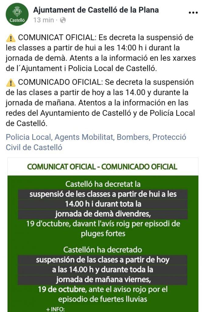 Suspensió de les classes 17 i 18 d'octubre