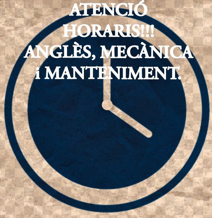 ATENCIÓ ALUMNES D'ANGLÈS,MECÀNICA i MANTENIMENT!!!
