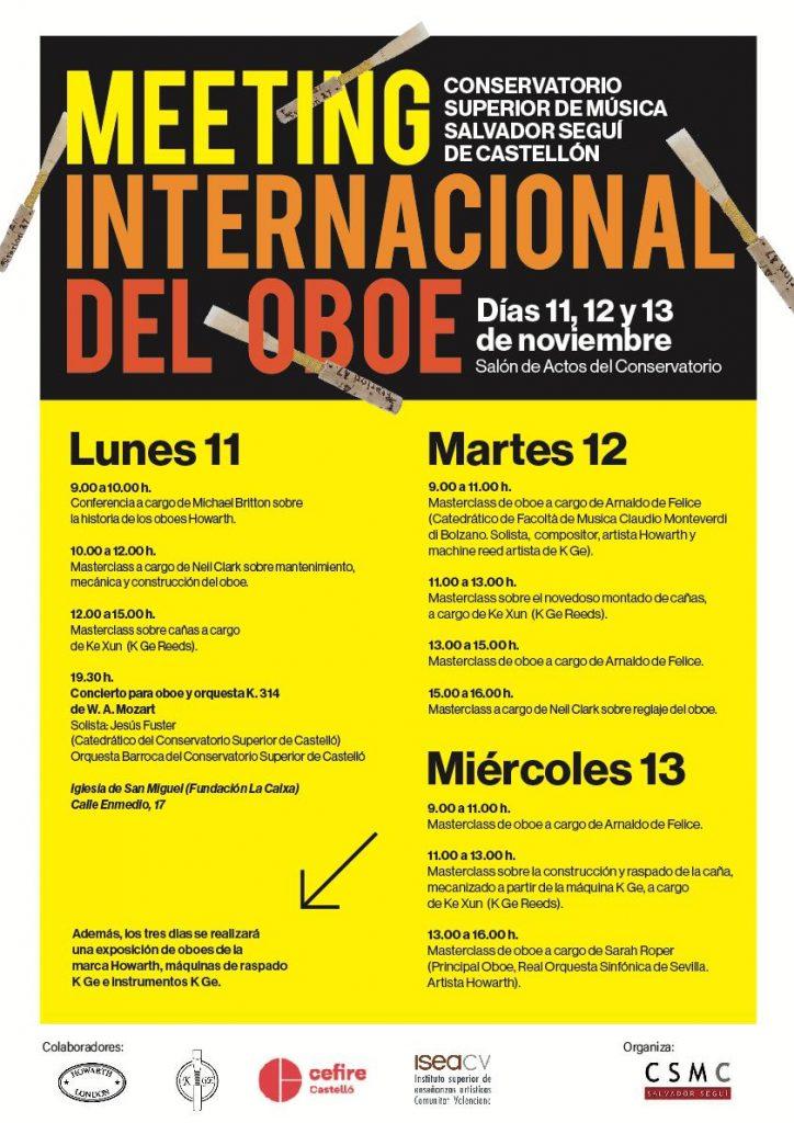 Meeting internacional d'oboè 11, 12 i 13 de novembre.