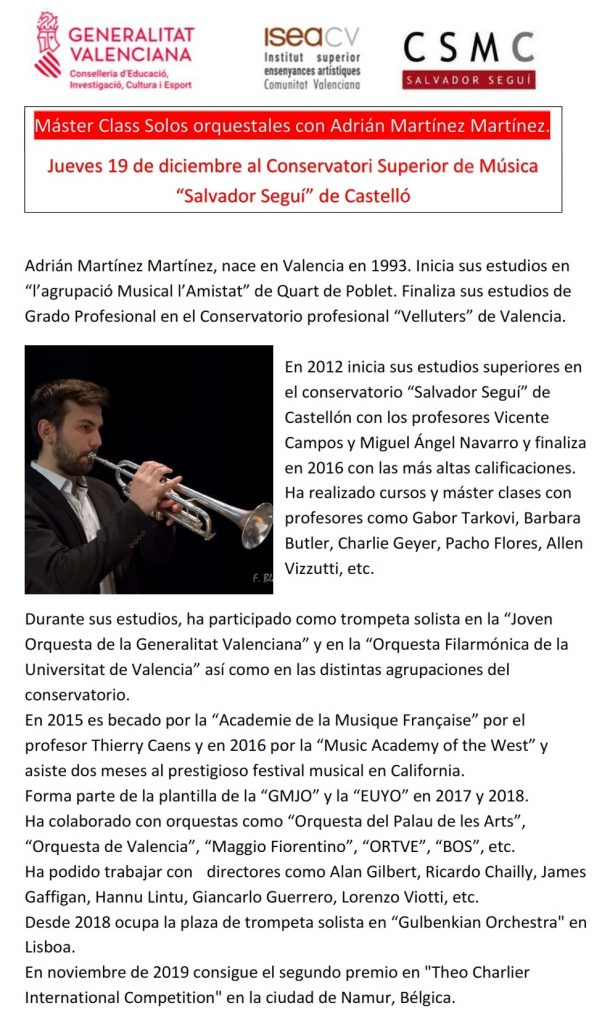 Màster Class; Solos orquestrals amb Adrián Martínez Martínez