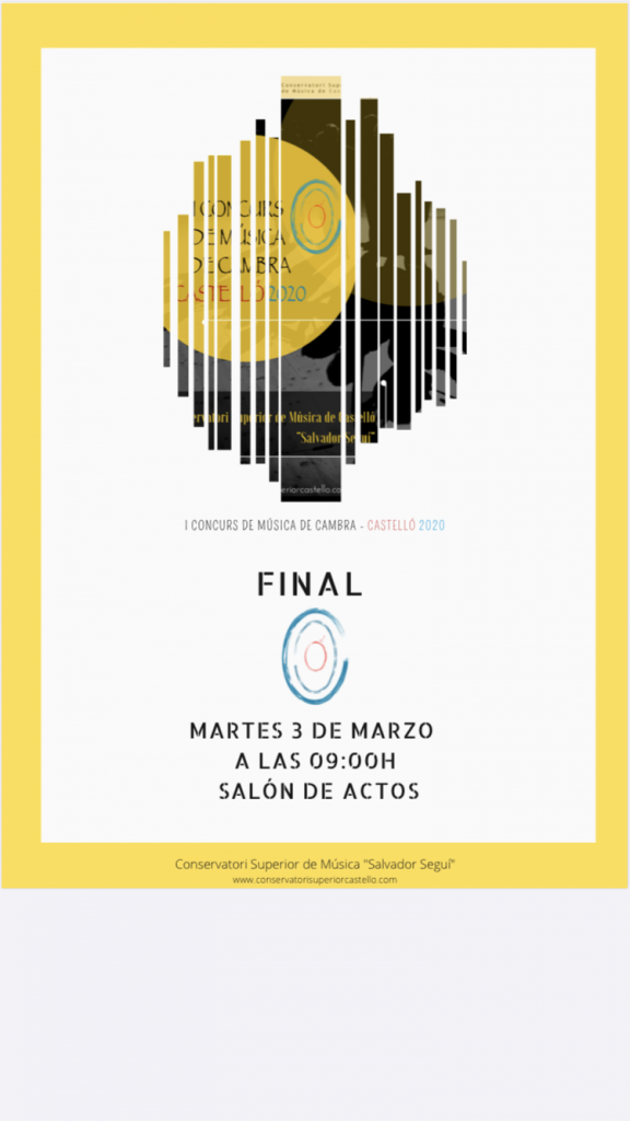 Orden de actuación para la fase final del «I Concurso de Música de Cámara».
