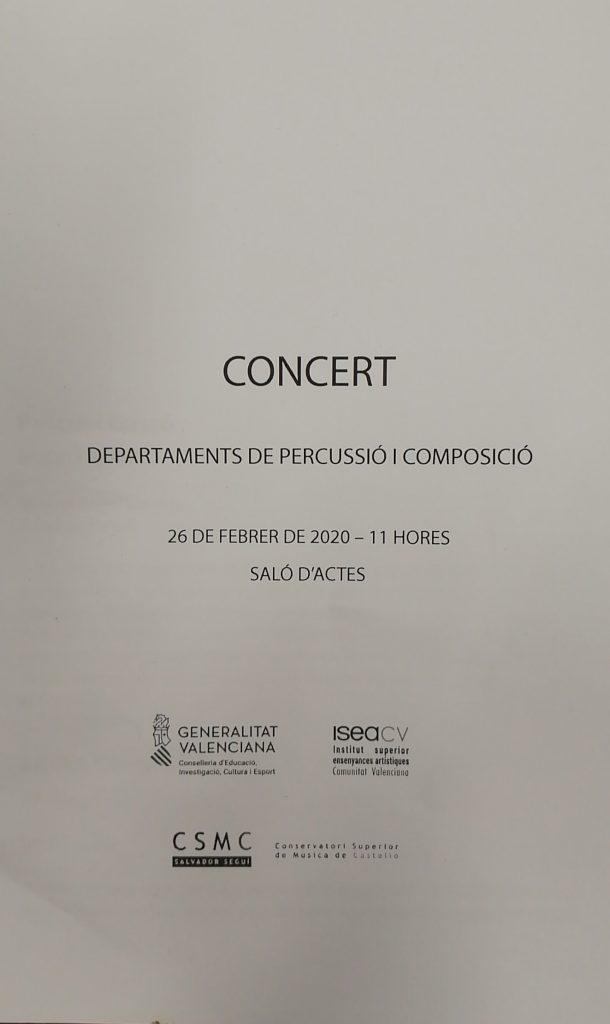Concierto Departamento de percusión y composición.