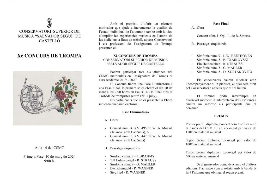 "CONCURS DE TROMPA. CONSERVATORI  SUPERIOR DE MÚSICA ""SALVADOR SEGUÍ"" DE CASTELLÓ"