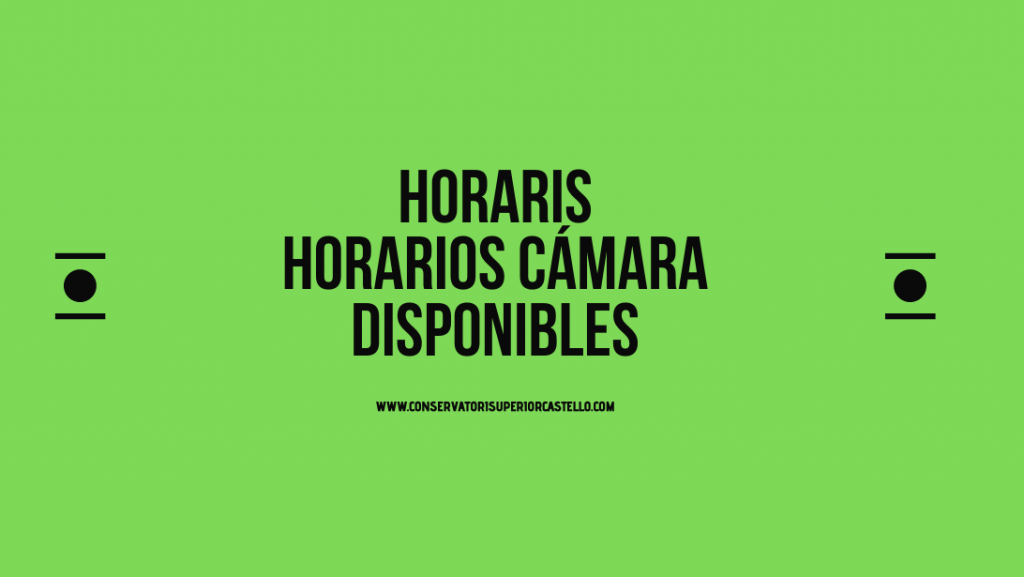 Horaris Música de Cambra disponibles